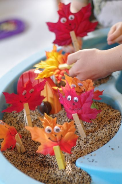 Fall Sensory Table - with leaf people!