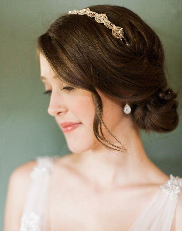 Gorgeous Low Bun Wedding Hairstyles with Headband