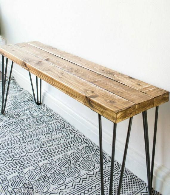 Sustainable Rustic wooden Bench with harpin legs, Farmhouse Style decor, Modern Bedroom home furnishings, Entryway benches, Seating