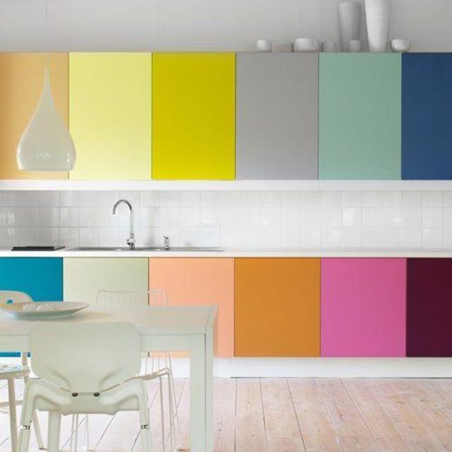 Une cuisine colorée.