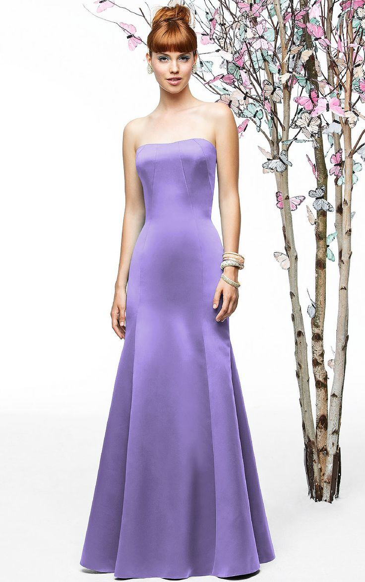 Strapless Zipper Sleeveless Satin Mermaid Bridesmaid Dresses
