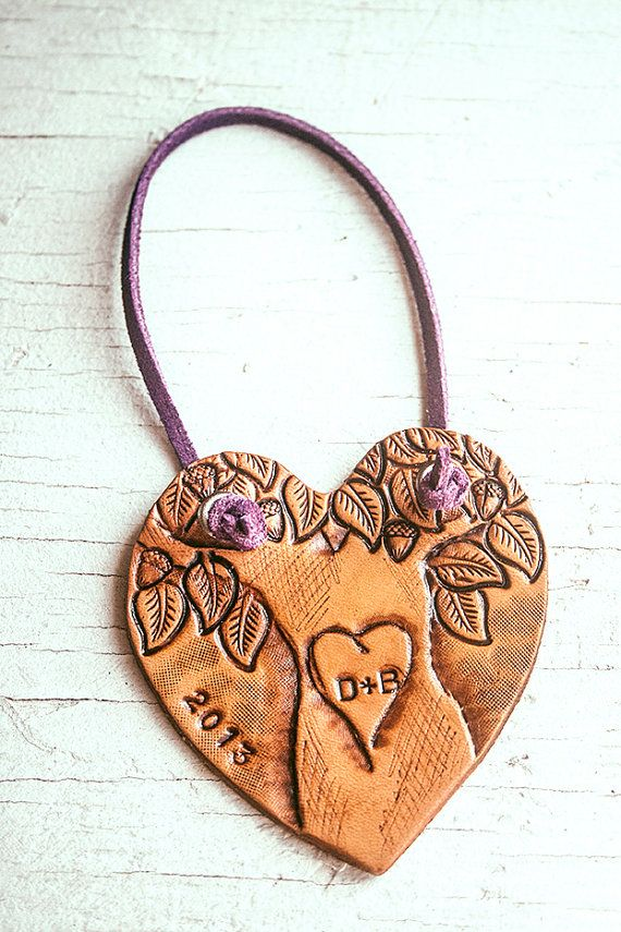 Heart Shaped Christmas Ornament - Custom Initial Tree  - add initials on a hand carved tree - One of a kind leather tag, Made to Order