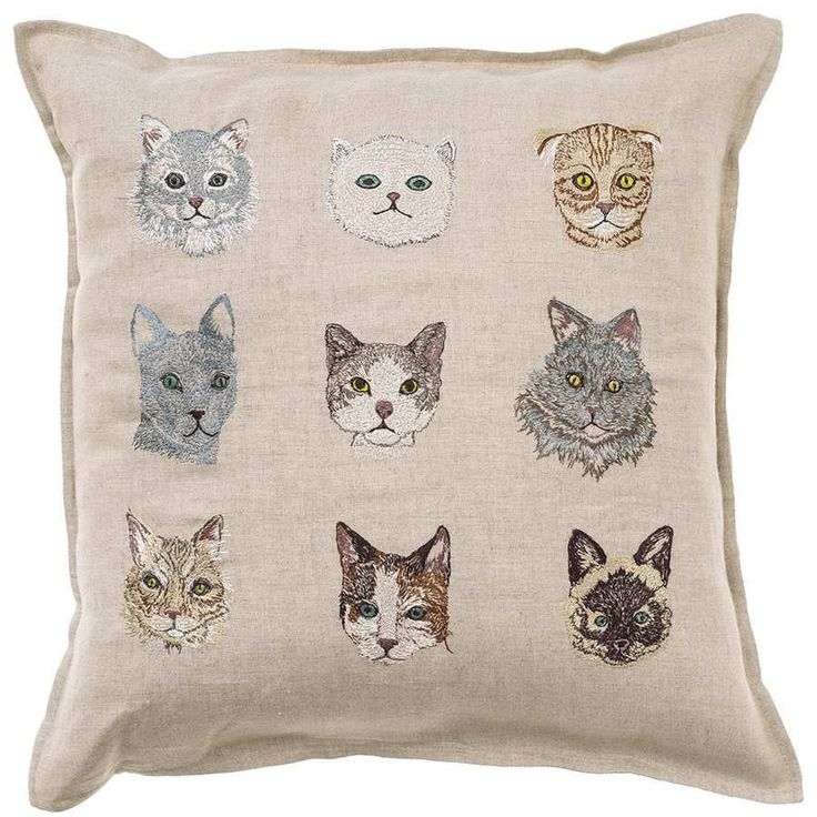 Cats Pattern Embroidered Linen Pillow