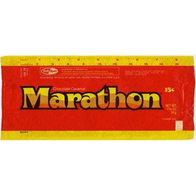 Mmmmm...Marathon candy bar...wish they'd start making those delicious chocolate-covered caramel braids again.