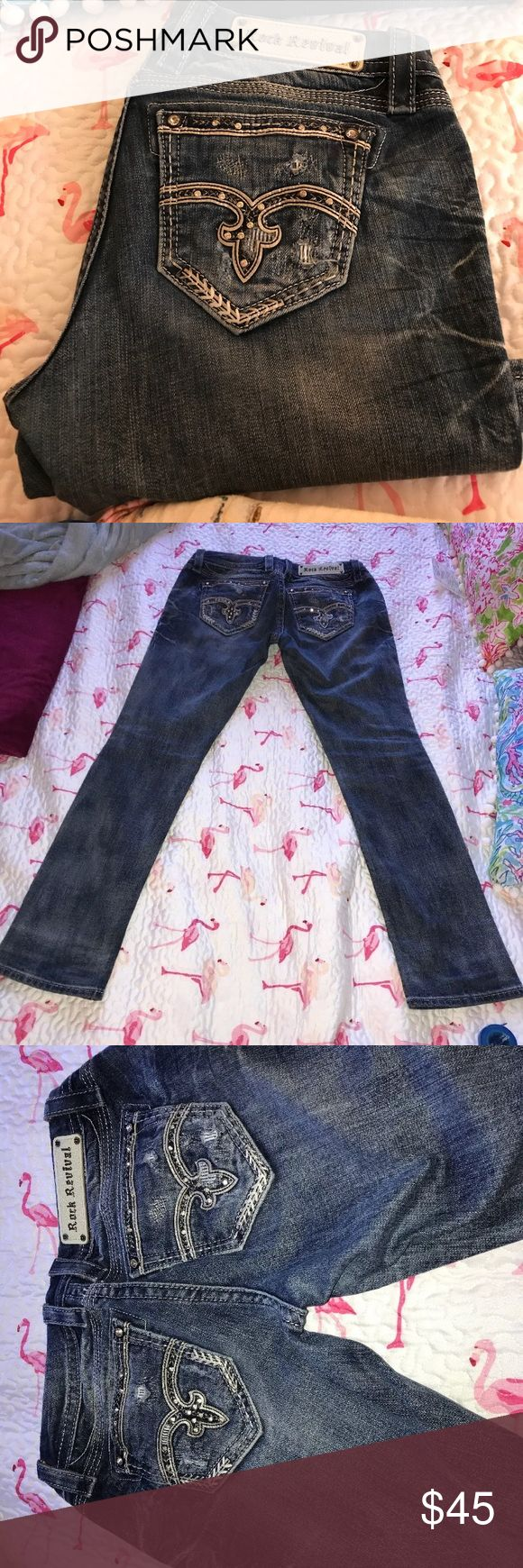 """Rock Revival 27 easy straight adaliz. GUC Great used condition.  Button closure  Zipper intact  Clean crotch  Easy straight  31"""" inseam  Distressed legs from factory. Your payment allows those disabled with MS to travel the world. Rock Revival Jeans Straight Leg"""