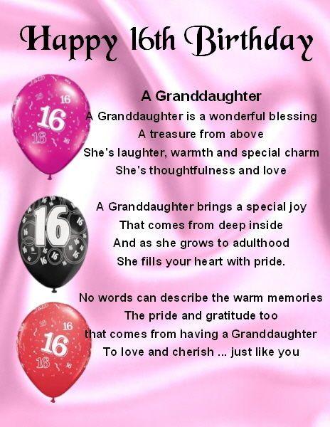 Fridge Magnet Personalised Granddaughter Poem 16th