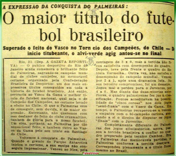 """A Gazeta Espotiva reconheceu o Mundial de 1951 como """"o maior título do Futebol brasileiro""""."""