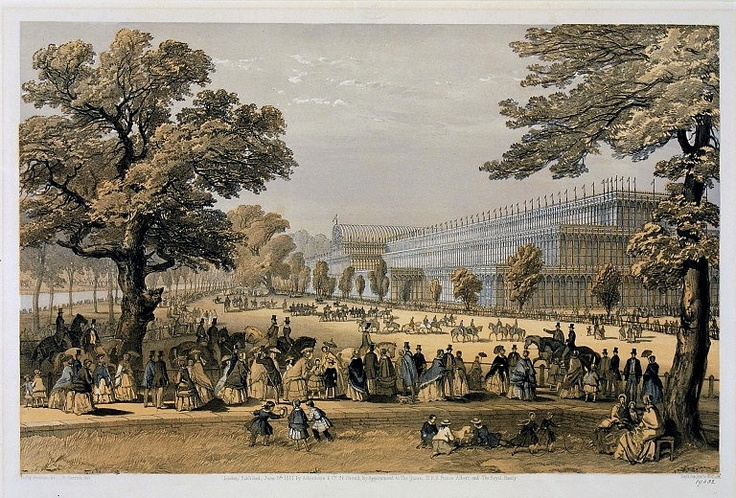 This image shows the Crystal Palace in Hyde Park, London, during the Great Exhibition in 1851. Here you can see visitors to the exhibition in Kensington Gardens. More than six million people visited the Crystal Palace. Up to one million travelled by rail. They stayed overnight in lodgings in London and had picnics in the park surrounding the Crystal Palace.