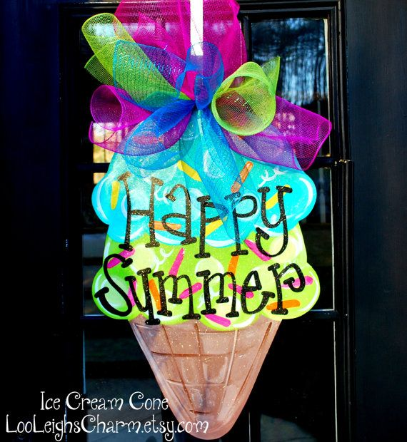 Summer Door Hanger: Ice Cream Cone Door Hanger, Door Decoration, Summer Wreath via Etsy