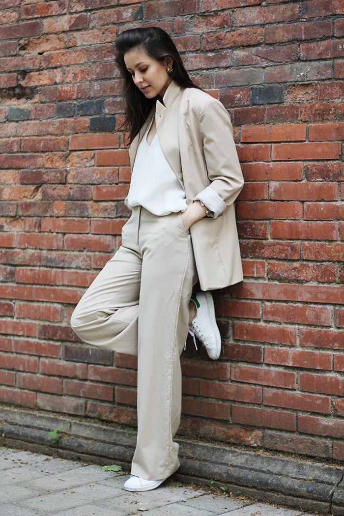 suit up! beige suit & white cami