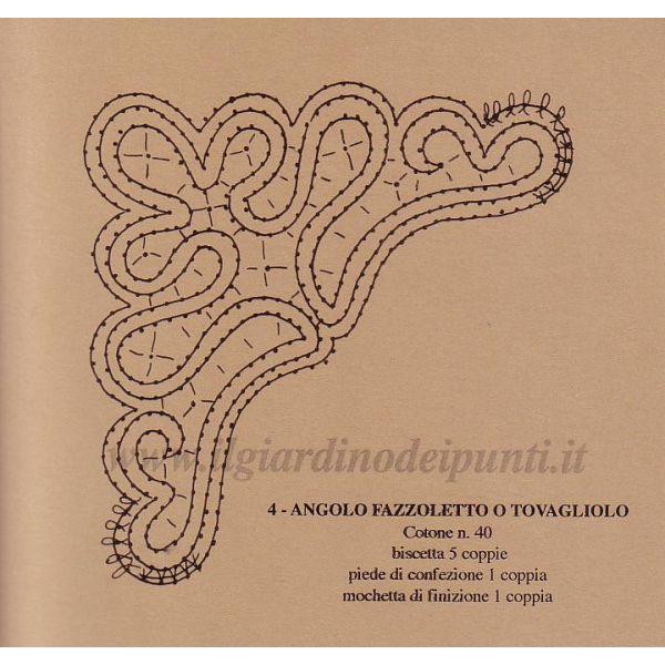 Angolino fazzoletto n. 142 - Il Giardino dei Punti, Circolo di ricami, pizzi e decori