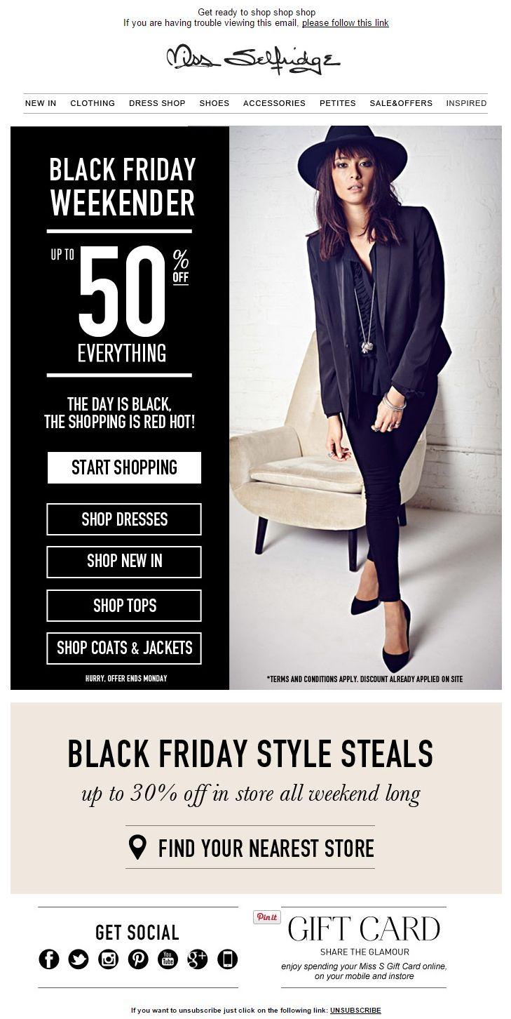 Black Friday Email Marketing Inspiration 2014 / Miss Selfridge