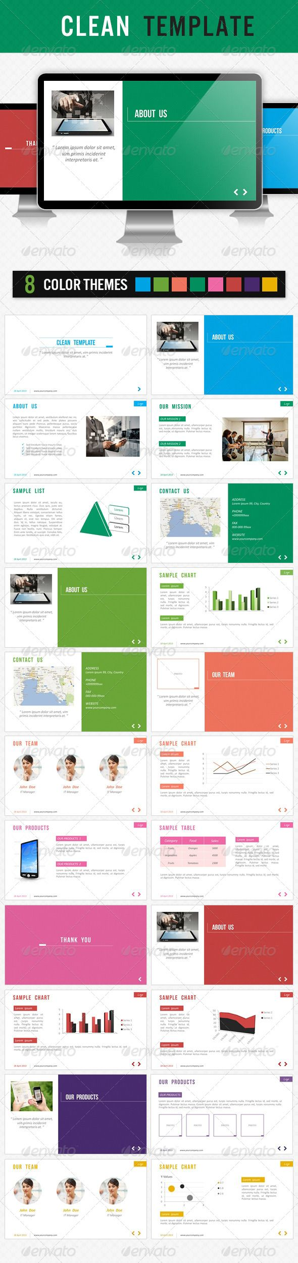 Clean Template  #GraphicRiver        Clean Template The pack includes:  PPTX file for Microsoft Office Powerpoint 2007/2010   PNG images with transparency  JPG files   8 color themes  Animated effects  Slide navigation in bottom (Prev/Next button) Images that i used:  bit.ly/101Qc4K  bit.ly/XT97oc  bit.ly/XIro5j  bit.ly/XT9grE  bit.ly/XIrv0F  bit.ly/115fXDL  bit.ly/17rA55f 	 Note: Photos used in the content area not included in the main file and they are replaced by image placeholders…