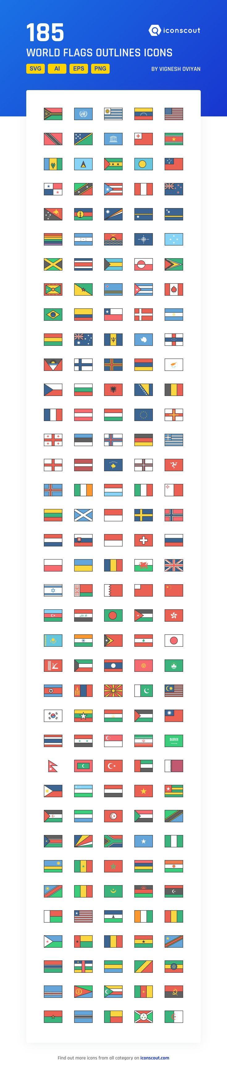 World Flags Outlines  Icon Pack - 185 Filled Outline Icons