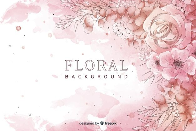 Download Natural Background With Watercolor Flowers For Free In