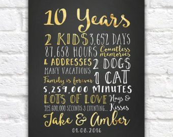 Wedding Anniversary Gifts for Him, Paper, Canvas, 10 Year Anniversary, 10th 20 year, 15 Year Anniversary Gift for Men, Guys | WF509