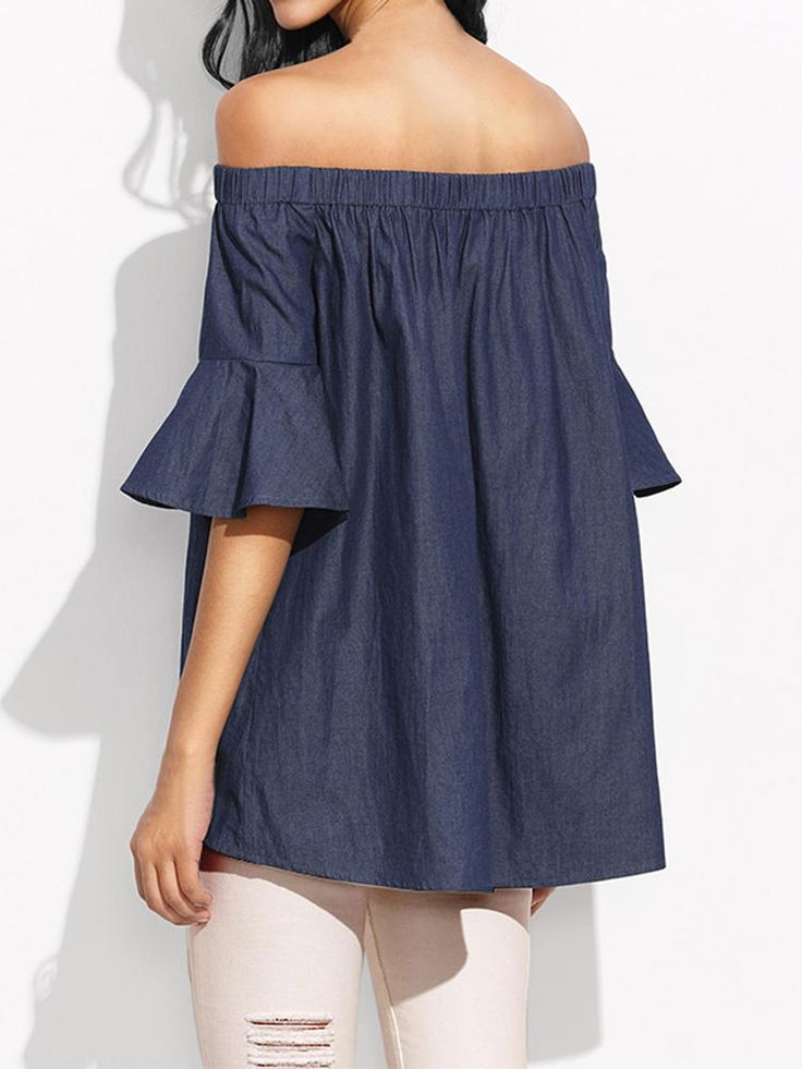 S-5XL Sexy Women Denim Off Shoulder Short Sleeve Blouse at Banggood