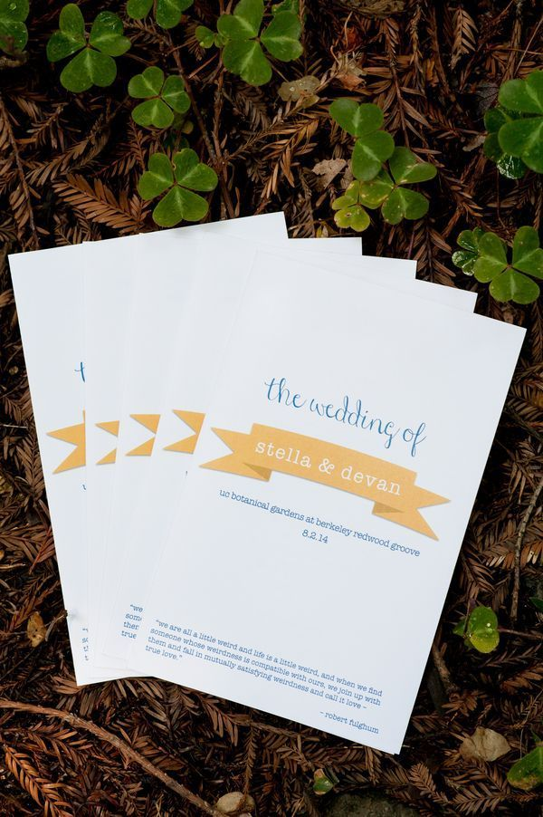 Blue Gold Botanical Garden Wedding Rustic StationeryRustic ProgramsRustic