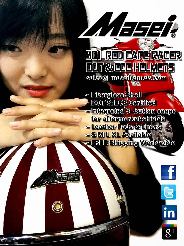 Masei 501 Ruby -looking Cafe Racer DOT & ECE Harley Davidson Helmets