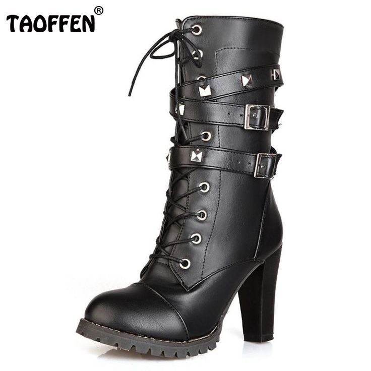 Ladies shoes Women boots High heels Platform Buckle Zipper Rivets Sapatos femininos Lace up Leather boots Fashion Size 34-43