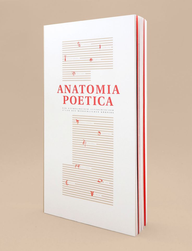"""""""A new form of anatomy book combining science texts and fictional literature. Each of the twelve chapters introduces one part of the human body like a bone, muscle or cartilage. The chapters start by an anatomical introduction explaining the object's general function, which is followed by a translation of the specific anatomical term. This translation leads to an associative anthology of typographically interpreted texts. Emphasizes the imaginativeness and wit within the anatomical…"""