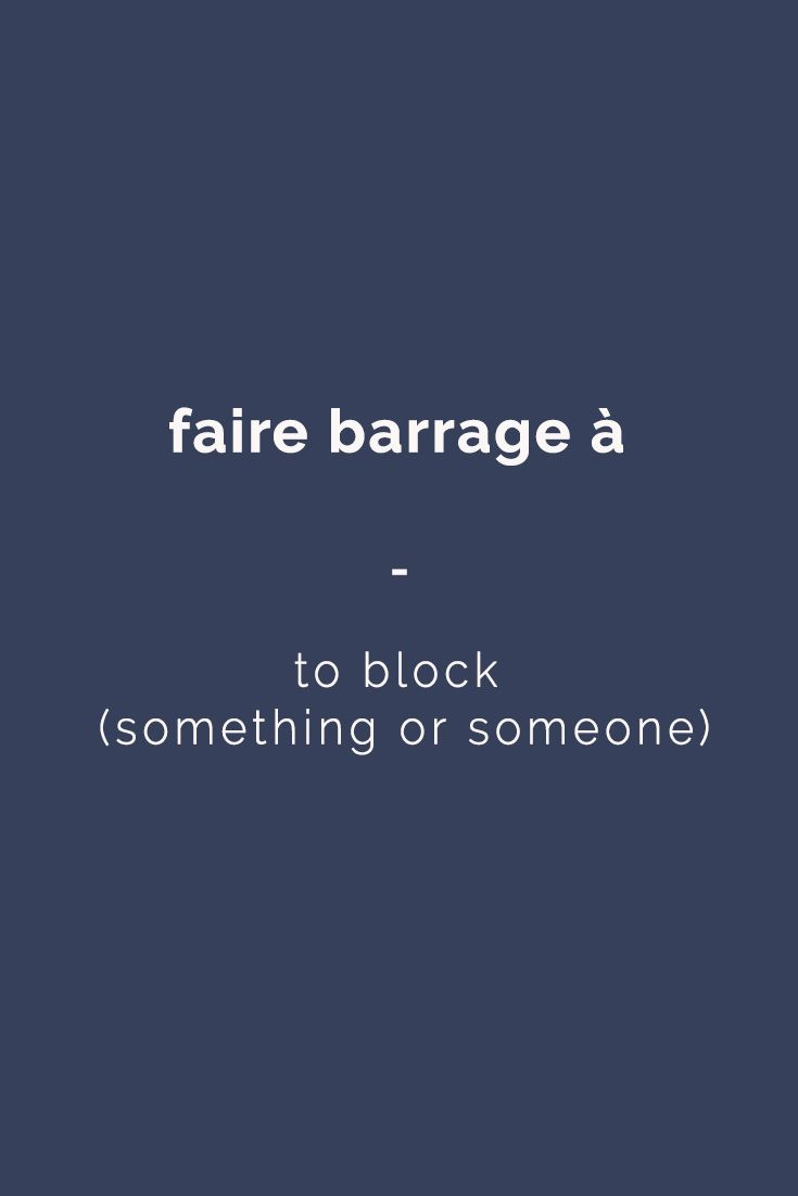 French expression: faire barrage à - to block (something or someone) | For more French expressions you can learn daily, get a copy of 365 Days of French Expressions. Covers a wide range of expressions and colloquial phrases: with meaning, their literal translation, and examples. With FREE AUDIO for pronunciation and listening practice! https://store.talkinfrench.com/product/french-expressions/
