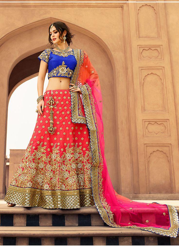 Women's Red & Art Silk Fabric Pretty Unstitched Lehenga Choli