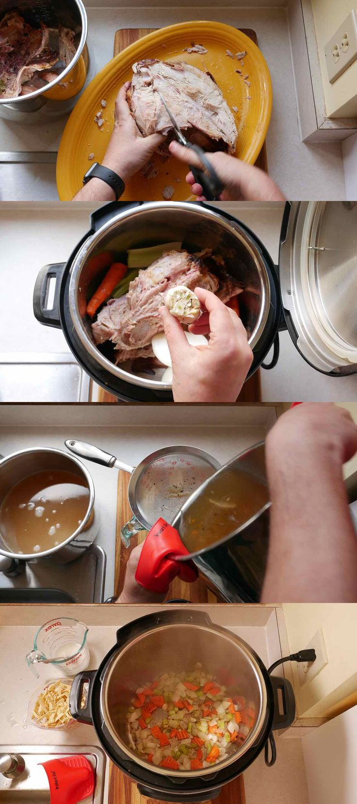 Pressure Cooker Day-After-Thanksgiving Turkey Carcass Soup   DadCooksDinner.com