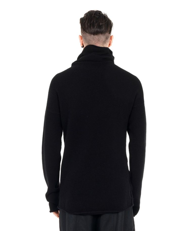 LOST&FOUND MAN Black sweater turtleneck long sleeves asymmetric hem 67% CO 25% WO 8% WA