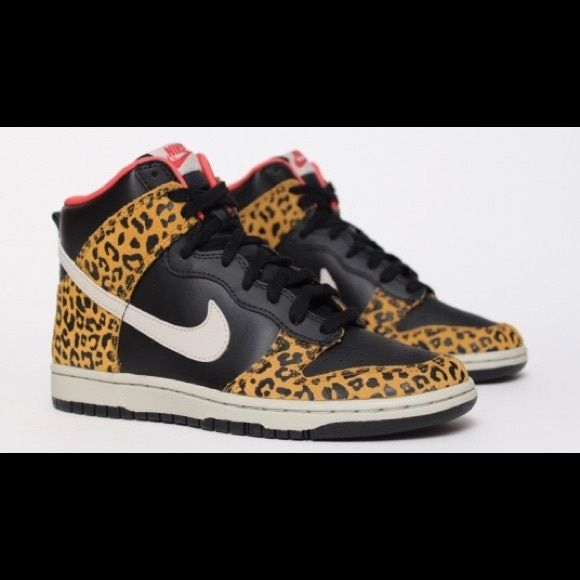 Women's Nike Dunk High Skinny Leopard Worn once, super rare suede and leather leopard Nike Dunks, with box. Box is a little beat up from the mail! Very hard to find in such perfect condition! Nike Shoes Athletic Shoes