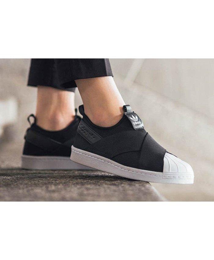 1f85c39b33ff Adidas Superstar Slip On Dark Black Shoes Cheap Sale