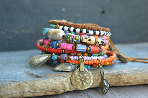Ethnic memory wire bracelet. Hippie Boho Gypsy by BeadStonenSkin                                                                                                                                                                                 More