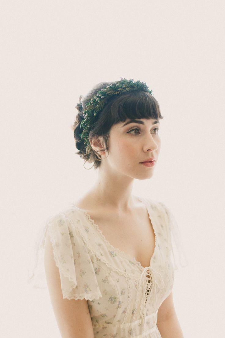 Juniper and cedar hair crown, Natural leaf boho wreath, Woodland wedding crown, Winter wedding, Bridal hair, Green leaf crown - JUNIPER