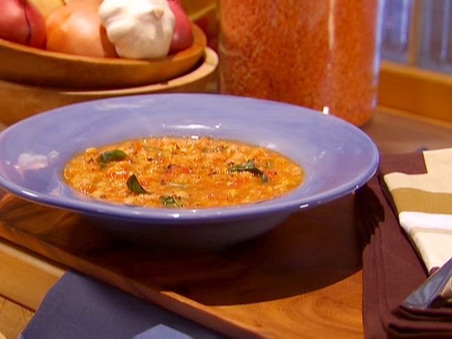 Moroccan Spiced Chickpea Soup recipe from Dave Lieberman via Food Network