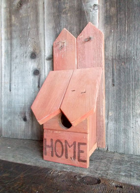 Rustic Birdhouse Red Salvaged Wood Home by kathleenmelville1