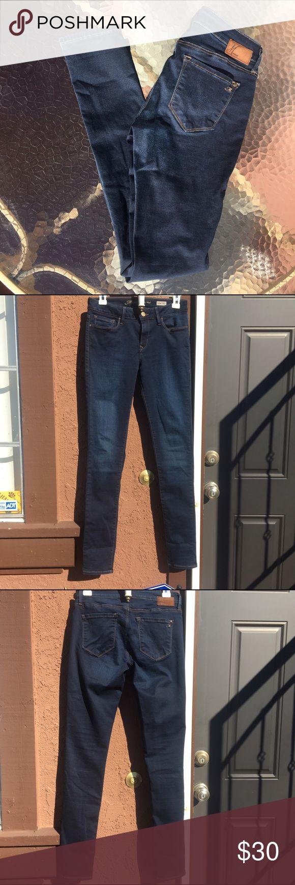 "Mavi Alexa Mid Rise Skinny Jeans, Dark Blue Mavi Alexa Mid Rise Skinny Jeans. 8"" rise, 32"" hem. 63% cotton, 33% eme (polyester), and 4% elastase. These are very, very stretchy. Mavi Jeans Skinny"
