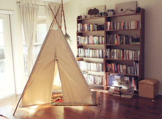 8ft Giant Canvas Kids Teepee - Hide Away Tepee With Bamboo Poles - Handmade Children's Play Tent