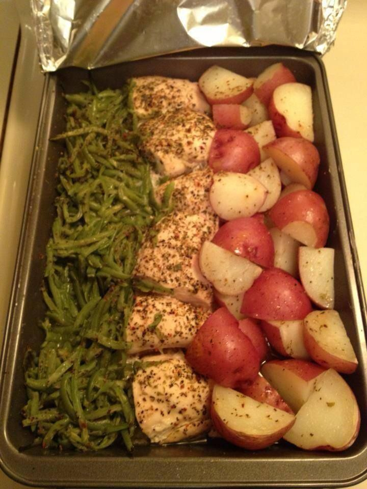 G In a 9x13 pan, cut 3 chicken breasts in half, add 2 cans green beans on one side and cut up red skin potatoes on the other. Sprinkle a packet of zesty Italian dressing mix over the top. Drizzle a stick of melted butter over it. Cover it with aluminum foil and bake at 350 for 1 hour. Super easy