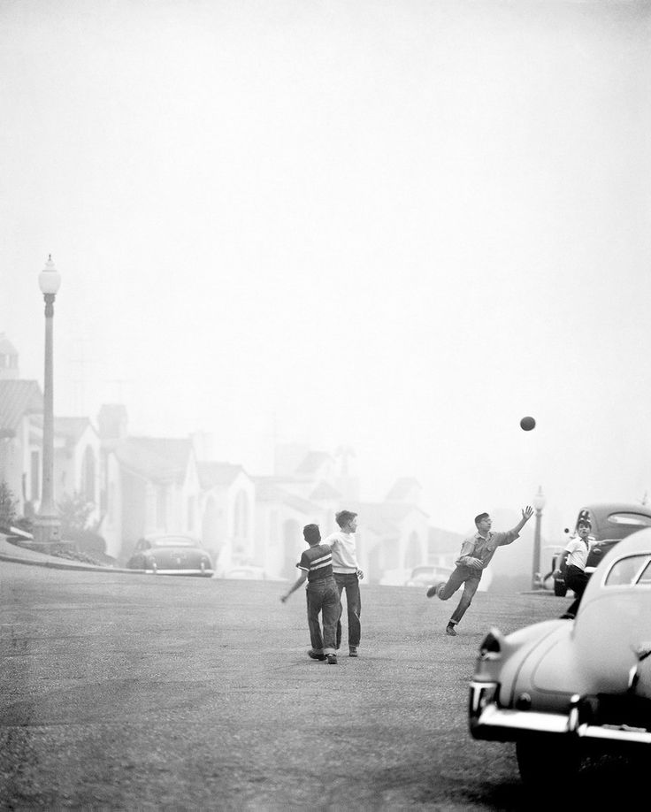 Boys playing ball game - Amazing Midcentury Photographs of San Francisco Best of Web Shrine