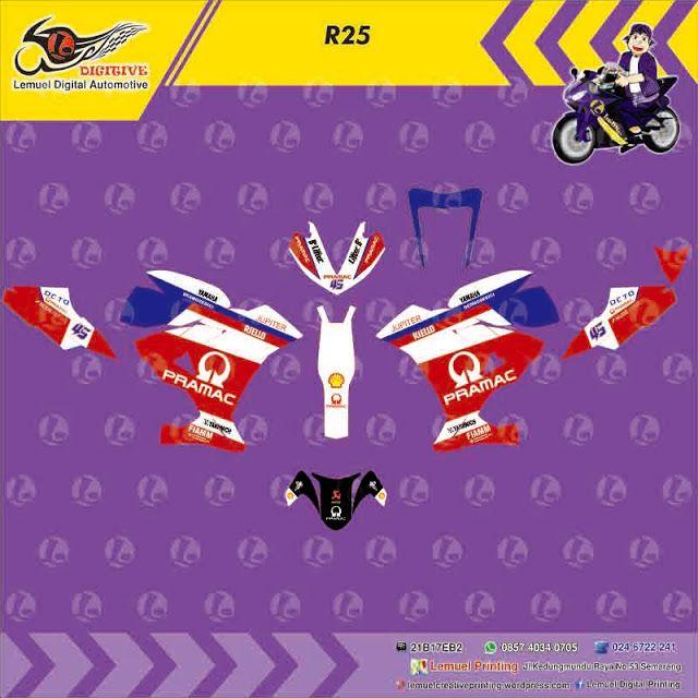 Custom decal Vinyl Full Body Striping Motor Yamaha R25 Thema Pramac Red Berkualitas by DIGITIVE