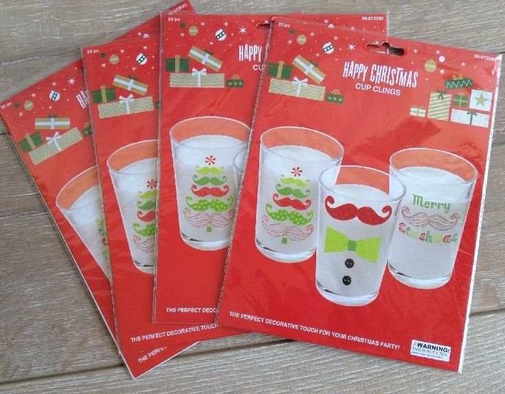 Christmas Cup Clings Lot of 4 Merry Stashmas Mustache Theme Total 80 Count #christmas #christmascraft