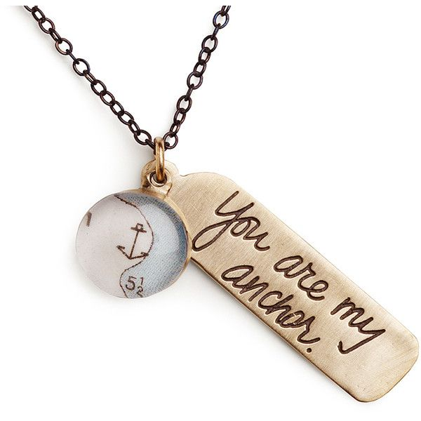 18 Vintaged Bronze Anchor Message Necklace (Anchor + You are my... ($90) ❤ liked on Polyvore featuring jewelry, necklaces, anchor necklace, anchor charm necklace, vintage jewellery, charm necklace and bronze jewelry