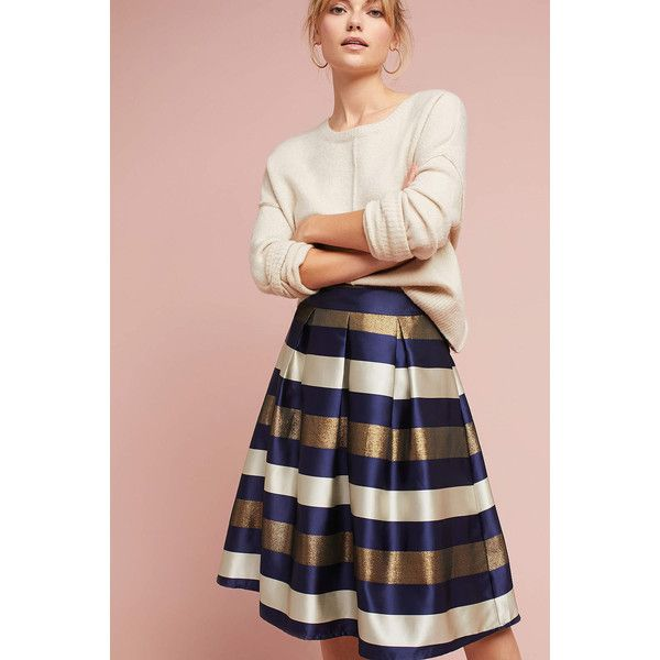 Traffic People Striped In Shine Skirt ($188) ❤ liked on Polyvore featuring skirts, blue motif, pink maxi skirt, midi skirt, print midi skirt, striped maxi skirts and patterned midi skirt