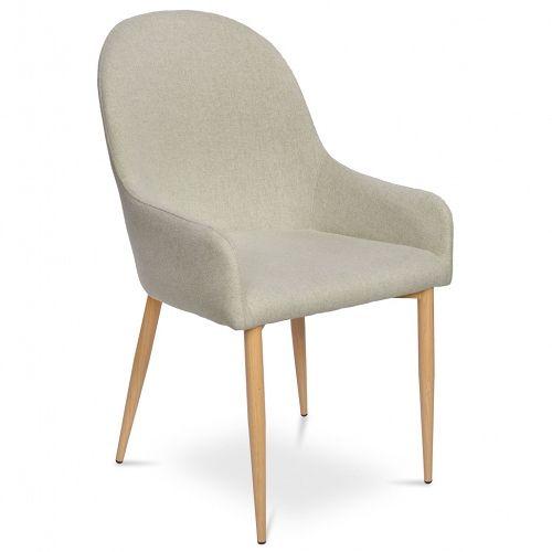 Tapicerowane krzesło Manuel zachwyca swoim eleganckim, a zarazem przytulnym wyglądem. Siedzisko wraz z oparciem zostało obszyte tapicerką w beżowym kolorze, a nogi malowane są na kolor ciepłego i jasnego dębu. Krzesło wyposażono również w podłokietniki o zaokrąglonych kształtach. Manuel to dokonała propozycja do salonu, eleganckiej restauracji lub kawiarni.  Sprawdź pozostałetapicerowane krzesła z naszej oferty.
