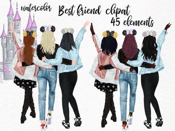 Best Friends Clipart Soul Sisters Clipart Bff Clipart Girls With Mouse Ears Custom Besties Bridesmaid Gift Disneyland Artwork Disney Trip Friends Clipart Girls Clips Clip Art
