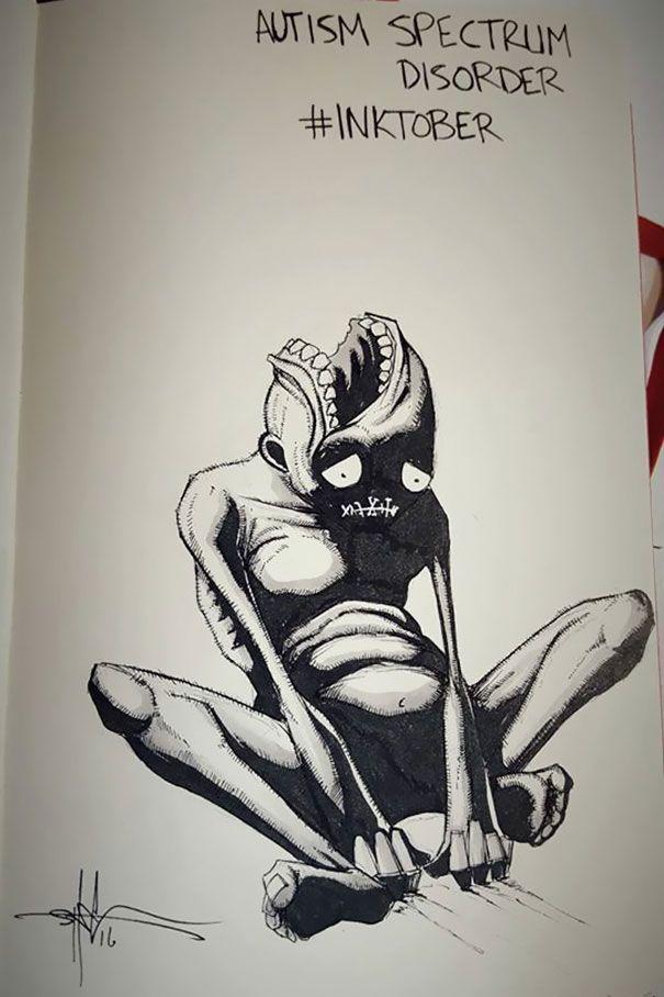 Cet artiste personnifie les maladies mentales dans des dessins sombres et dérangeants   Daily Geek Show