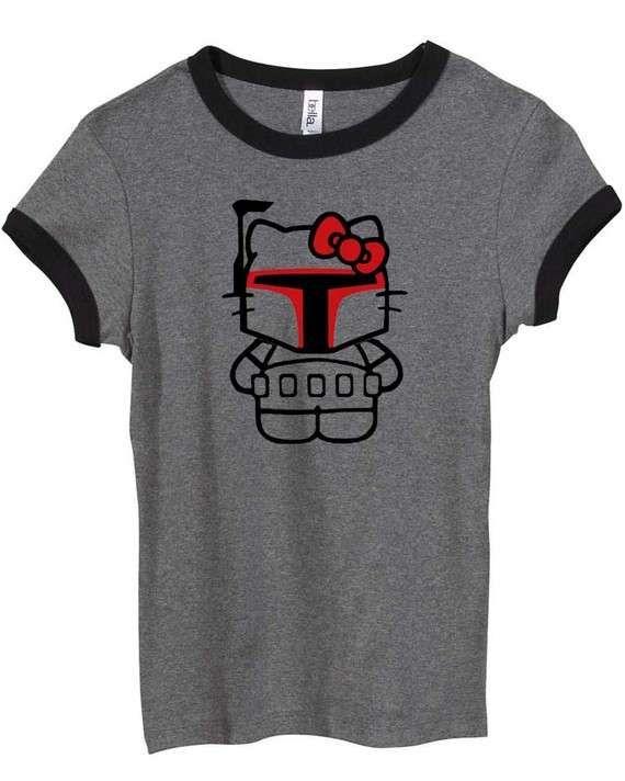 This Cute Hello Kitty Boba Fett T-Shirt is for Star Wars & Sanrio Fans #geek trendhunter.com
