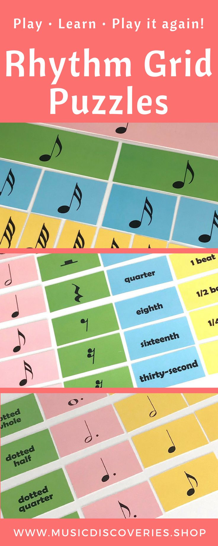 Use the Rhythm Grid Puzzles to help your students develop a solid understanding of note and rest values. #pianoteaching #musiceducation