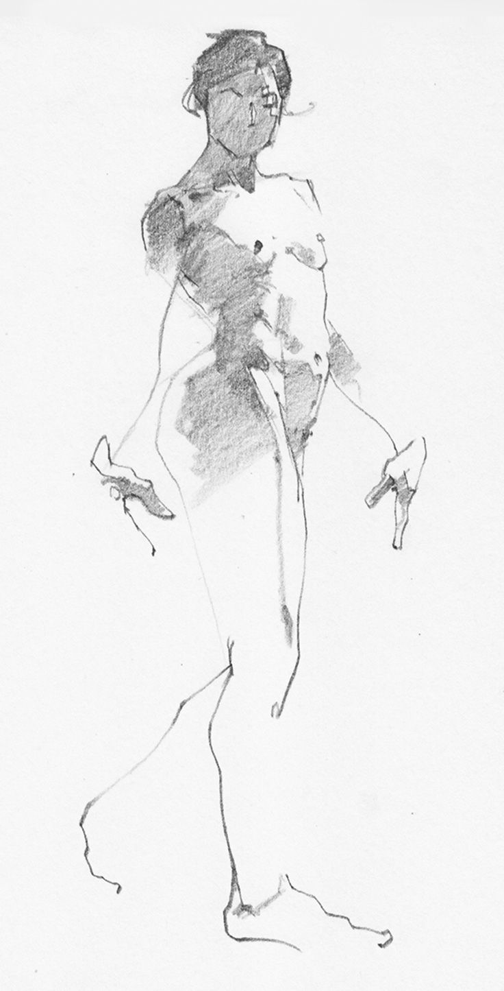 Aaron Coberly minimalist quick sketch of walking/standing nude female anatomy. aaroncoberly.com