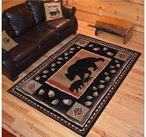 Wildlife Bear Themed Area Rug Lodge Hunting Animal Game Flooring